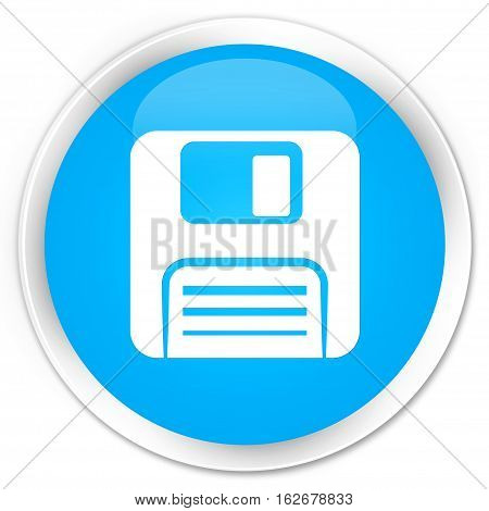 Floppy Disk Icon Premium Cyan Blue Round Button