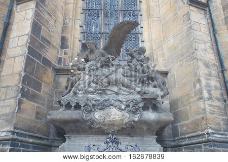 Sculpture Of St. John Of Nepomuk At St. Vitus Cathedral