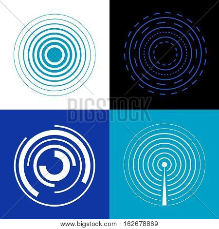 Blue circle signal waves. Generate sound or radar vector radio signals. Concentric audio signal, epicenter of music signal illustration