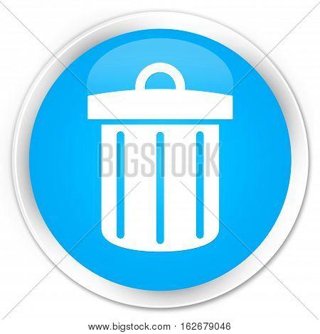 Recycle Bin Icon Premium Cyan Blue Round Button