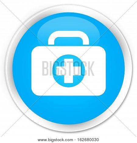 First Aid Kit Bag Icon Premium Cyan Blue Round Button