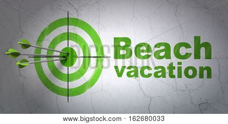 Success travel concept: arrows hitting the center of target, Green Beach Vacation on wall background, 3D rendering