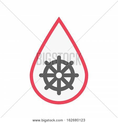 Isolated Blood Drop With A Dharma Chakra Sign
