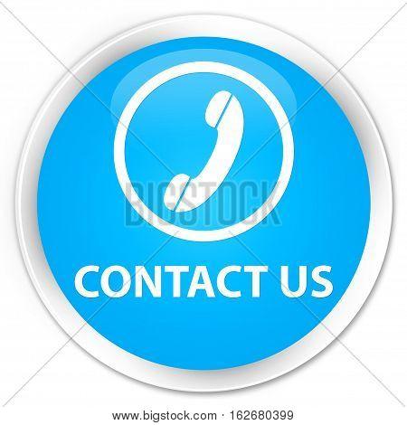 Contact Us (phone Icon Round Border) Premium Cyan Blue Round Button