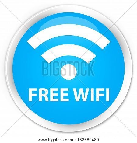 Free Wifi Premium Cyan Blue Round Button