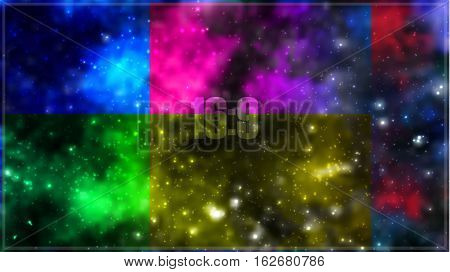 Abstract vector cosmic galaxy background with nebula, stardust, bright shining stars and color squares. Vector illustration for your design. Format 16:9.