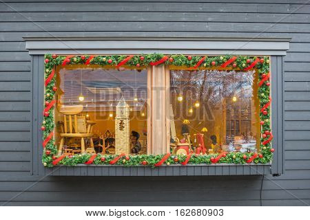 Karuizawa,Japan - 20 November 2016 : Window of shop Christmas style in the Harunire Terrace, This is a trendy, upmarket shopping and dining area built on a wooden terrace and surrounded by the forest.