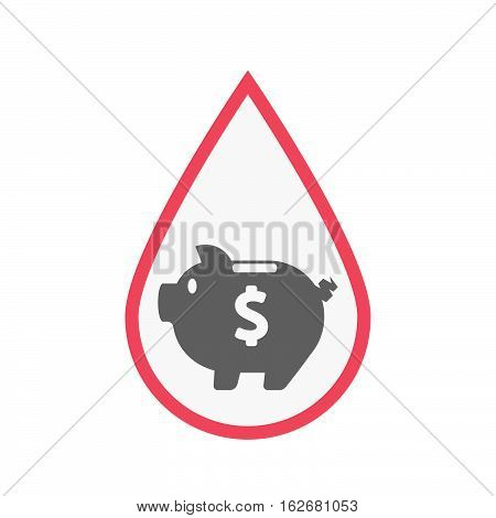 Isolated Blood Drop With A Piggy Bank