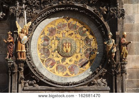 Historical Medieval Astronomical Clock In Prague On Old Town Hall
