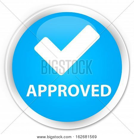 Approved (validate Icon) Premium Cyan Blue Round Button