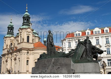 Statue Of Jan Hus. Old Town Square, Prague, Czech