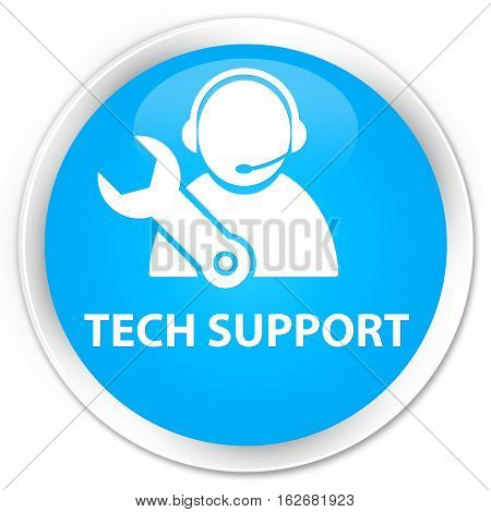 Tech Support Premium Cyan Blue Round Button