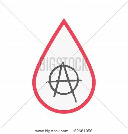 Isolated Blood Drop With An Anarchy Sign