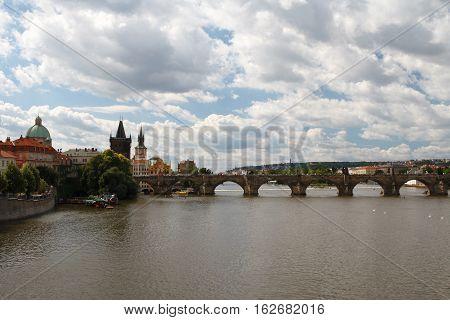 Views Of The City Of Prague. Charles Bridge And The Vltava River