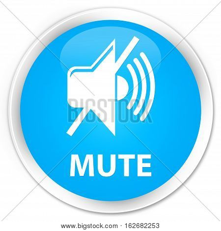 Mute Premium Cyan Blue Round Button