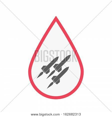 Isolated Blood Drop With Missiles