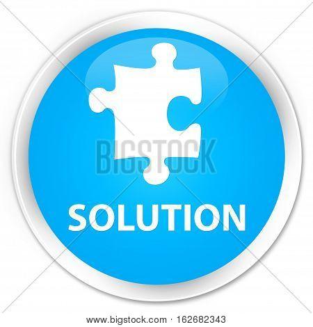 Solution (puzzle Icon) Premium Cyan Blue Round Button