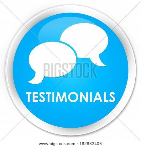 Testimonials (chat Icon) Premium Cyan Blue Round Button