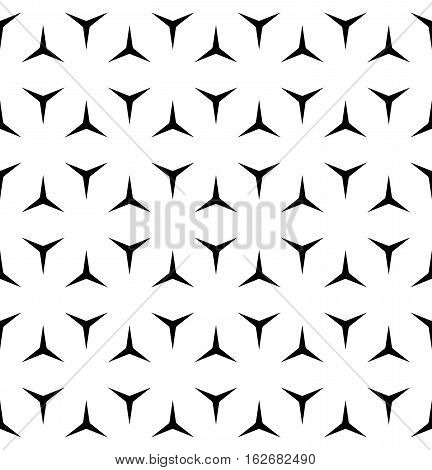 Vector seamless pattern, minimalist monochrome geometric texture. Simple background with black windmill figures on white backdrop. Editable design element for prints, decoration, digital, textile, furniture, web