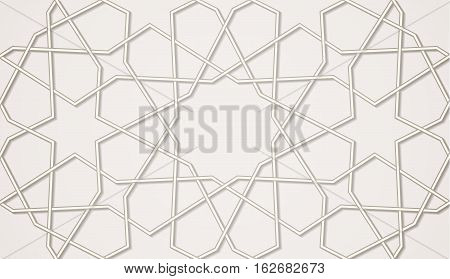 Light seamless symmetrical abstract vector background in arabian style made of emboss geometric shapes with shadow. Islamic traditional pattern.