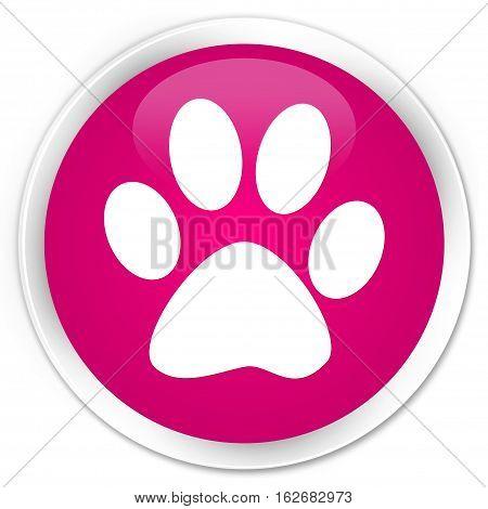 Animal Footprint Icon Premium Pink Round Button