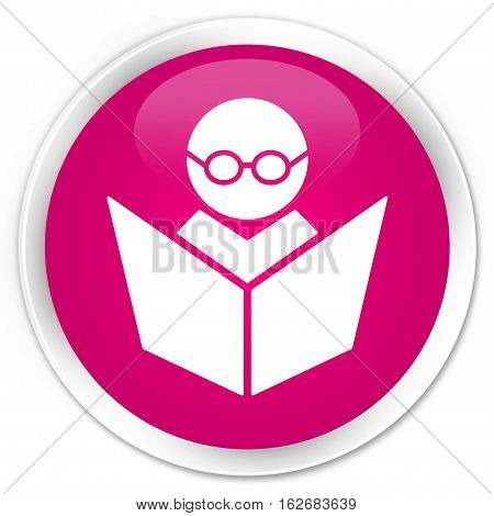 Elearning Icon Premium Pink Round Button