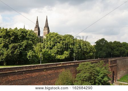 View Of The Fortress Wall And A Basilica Of St Peter And St Paul In Vysehrad. Prague