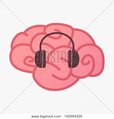 Isolated Brain With A Earphones