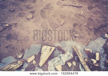 Retro Toned Frozen Lake, Abstract Nature Background