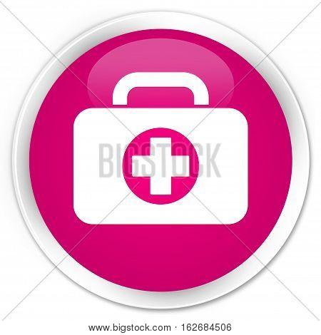 First Aid Kit Bag Icon Premium Pink Round Button