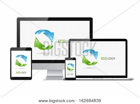 Set of realistic electronic devises with Eco recycling logotype. Set of computer monitor laptop smartphone and tablet.