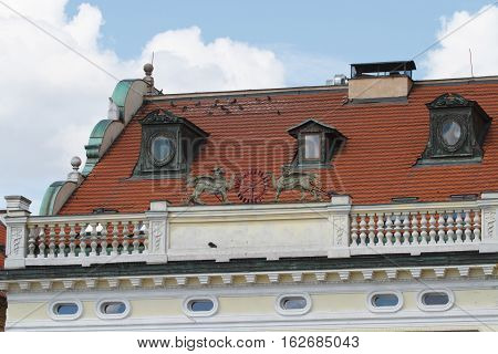 Fragment Of A Building In Prague With A Parapet Close Up
