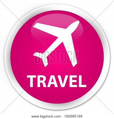 Travel (plane Icon) Premium Pink Round Button