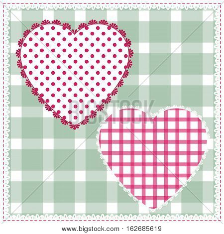 background for cushion pillow bandanna kerchief shawl fabric print. Texture for clothes and bedclothes. Vector pattern with hearts for Valentines day. Embroidery stylization