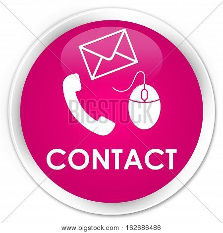 Contact (phone, Email And Mouse Icon) Premium Pink Round Button