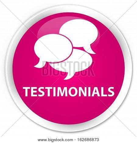 Testimonials (comments Icon) Premium Pink Round Button