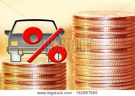 Passenger car and red percent sign on a background of money . The concept of change of car prices .