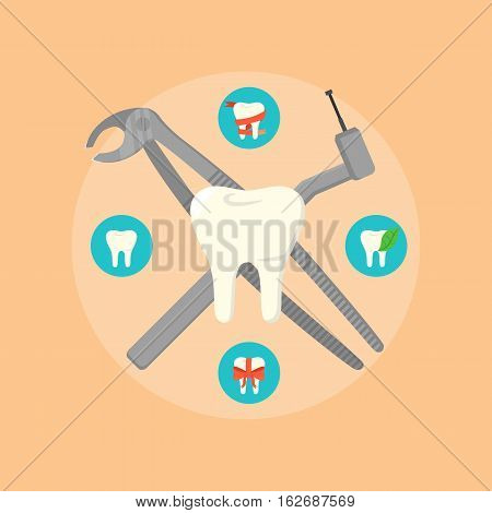 Dental instruments crosswise on orange background with round teeth icons. Dentistry isolated vector illustration. Medical professional equipment. Healthcare and tooth care concept. Dental hygiene