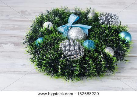 Christmas Wreath Blue, Silver And White Color