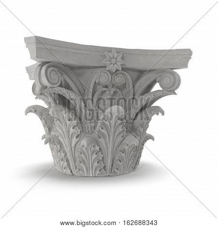 Corinthian Order Column Capital on white background. 3D illustration poster