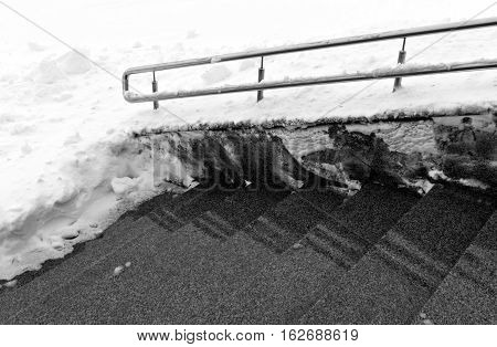 Stairway With Handrail In Snow.