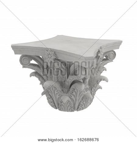 Corinthian Order Column Capital on white background. 3D illustration