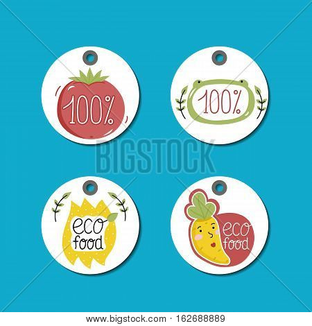 Eco and bio food labels set isolated on blue background. Natural farm products round price tags with cartoon vegetables characters. Eco friendly products concept. Vegetarian food diet. Organic food logo. Farm food icon.