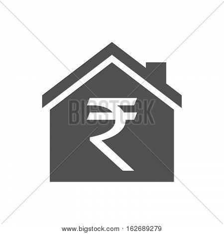 Isolated House With A Rupee Sign