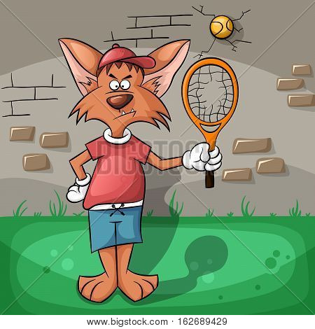 Broken racket and bad wolf. Sport illustration.