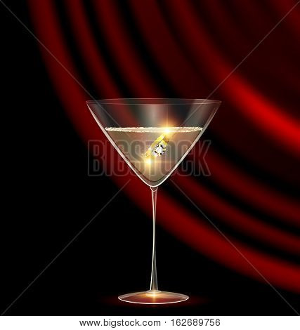 black background and the large glass of champagne with golden jewel ring inside, dark red drape