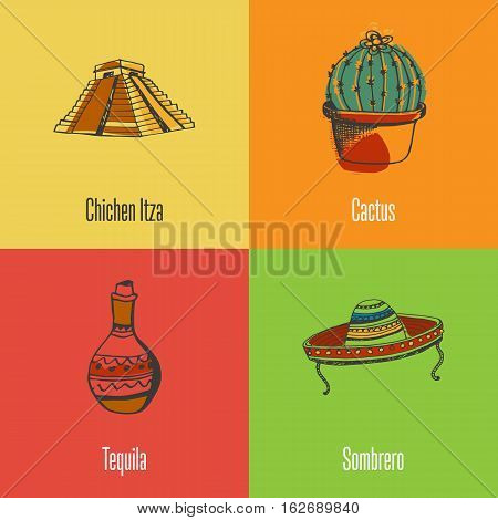 Mexico national symbols. Chichen Itza pyramid, cactus in pot, sombrero, jug of tequila colored hand drawn doodle vector icons with caption on colored backgrounds. Country concept for travel company ad