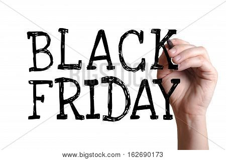 Hand writing Black Friday with black marker on transparent wipe board.