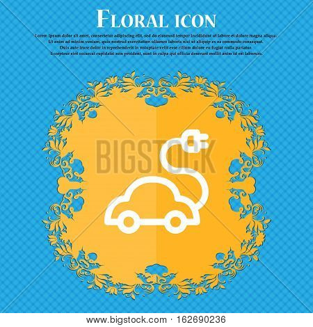 Electric Car Icon Sign. Floral Flat Design On A Blue Abstract Background With Place For Your Text. V