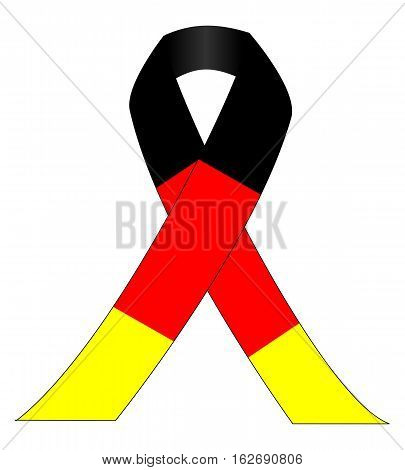 Mourning ribbon on germen flag - illustration